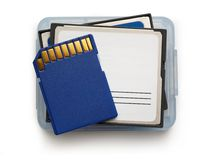 Blue compact memory cards Royalty Free Stock Photos