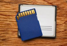 Blue compact memory cards Stock Photo