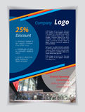Blue company logo A4 brochure template. Orange red line and circle cyan textbox on indigo background. Flyer layout white demo text. Night party banner Stock Images