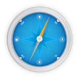 Blue Compass. With steel frame Royalty Free Stock Image