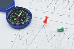 Blue compass and pin on graph paper, success concept Royalty Free Stock Photo