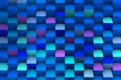 Blue composition with 3d cubes growing. Image dominated by metalic blue, to transmit serenity, lightness, fullness. Modern coposition Royalty Free Stock Photos