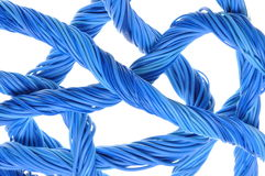 Blue computer cables Royalty Free Stock Images