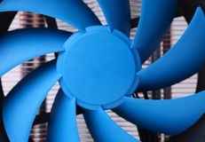 Blue computer fan for PC case. Royalty Free Stock Photo