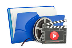 Blue computer folder icon with film reel and clapperboard, 3D re Stock Photos