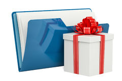 Blue computer folder icon with gift, 3D rendering Royalty Free Stock Photos
