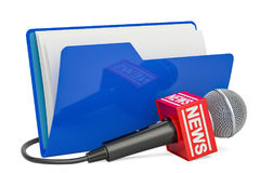 Blue computer folder icon with microphone news, 3D rendering Stock Image