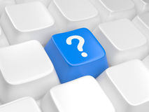 Blue computer key with question sign Royalty Free Stock Photography