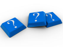 Blue computer keyboards with question mark. 3d illustration Royalty Free Stock Images