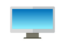 Blue Computer Monitor in Flat. Blue computer monitor with empty screen in flat. LCD TV monitor. LCD TV screen. Smart TV Mock-up, Vector TV screen, LED TV Stock Photo