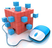 Blue computer mouse connect to cubes structure Royalty Free Stock Photos
