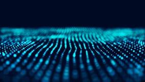 Blue computer technology background. Big data visualization. Technology landscape. 3d rendering vector illustration