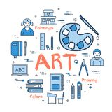 Blue concept with Art Subject. Vector linear blue round concept of Art School Subject. Line icons of painting, drawings, instruments and pupils Stock Image
