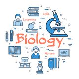 Blue concept with Biology Subject. Vector linear blue round concept of Biology Subject. Line icons of school lesson, microscope, anatomy and cell studies Stock Image