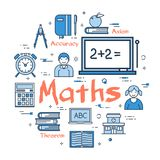 Blue concept with Maths Subject. Vector linear blue round concept of Maths School Subject. Line icons of textbooks, a board with equations, students, theorems Royalty Free Stock Images