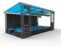Blue concert stage. 3D render of a blue concert stage. The stage is isolated on a white background with soft shadows Stock Image