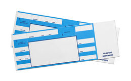 Blue Concert Tickets. Pair of Blank Blue Concert Performance Tickets Isolated on White Background Royalty Free Stock Photos