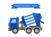 Blue concrete mixer truck cement industry equipment machine vector. Royalty Free Stock Images