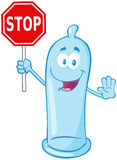 Blue Condom Character Holding A Stop Sign Stock Photography