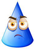 Blue cone with sad face Royalty Free Stock Images