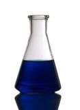 Blue conic retort Royalty Free Stock Image