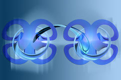 Blue connections. Creative connecting shapes on a blue abstract background.Can be used as a backdrop (for a presentation royalty free illustration