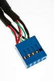 Blue connector. For extra USB on computer motherboard royalty free stock images