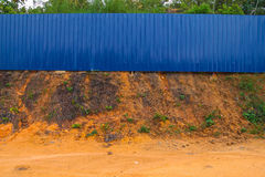 Blue construction fence Stock Photography