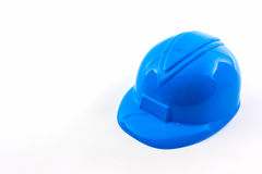 Blue construction helmet. Stock Photos