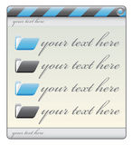 Blue construction window label with folders and te. Xt space Stock Photos