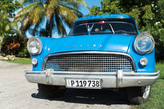 Blue Consul retro car on Cuban streets Stock Images