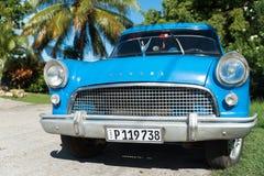 Blue Consul retro car on Cuban streets Stock Images