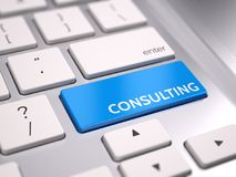 Blue consulting button on keyboard - consulting concept Royalty Free Stock Photography