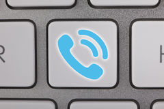 Blue Contact Us on Keyboard Stock Images