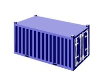 A Blue Container Cargo Container on White Backgrou Royalty Free Stock Image