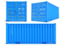 Blue Container in 3D Isolated on White. Stock Images