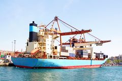 Blue container ship Stock Photos