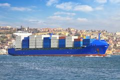 Blue Container Ship stock photo