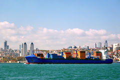 Blue container ship Stock Photography