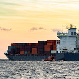 Blue container ship Royalty Free Stock Photos