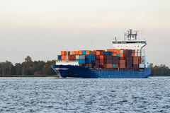 Blue container ship Royalty Free Stock Image