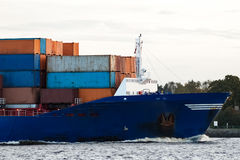 Blue container ship`s bow Royalty Free Stock Photography