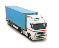Blue container truck Stock Image