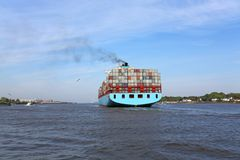 Blue_containership Imagens de Stock Royalty Free