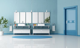Blue contemporary bathroom Stock Images