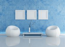 Blue contemporary interior Royalty Free Stock Photo