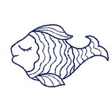 Blue contour of a small fish on a white background royalty free stock photos