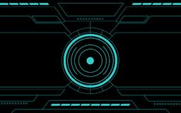 Blue control panel abstract Technology Interface hud on black background stock illustration