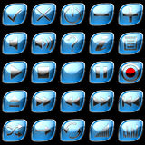 Blue Control panel icons or buttons Stock Photography