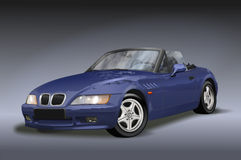 Blue Convertible. Blue vintage convertible car seen from the front with grill and hood vector illustration